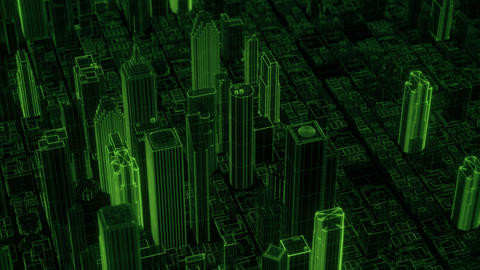Green hologram lines stylized city moving background loop Animation
