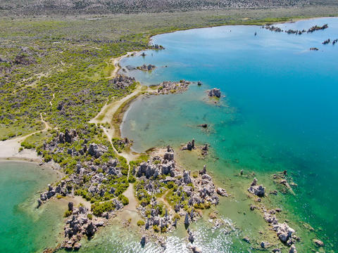 Aerial view of Mono Lake with tufa rock formations during summer season, Mono Photo
