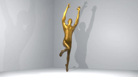 Bronze statue of a muscular man in a dramatic pose. Metal statue rotating at the Animation