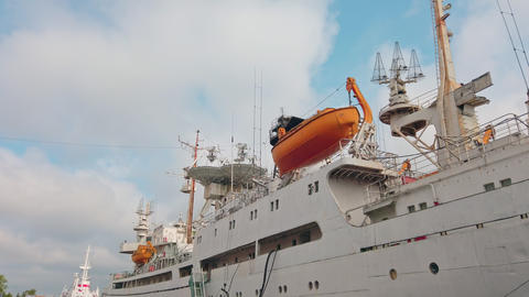 Research ship with antenna for space communication Live Action