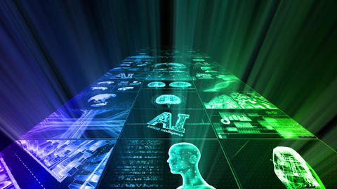 Digital Network Technology AI artificial intelligence data concepts Background D Yoko B1 3x3 rainbow Animation