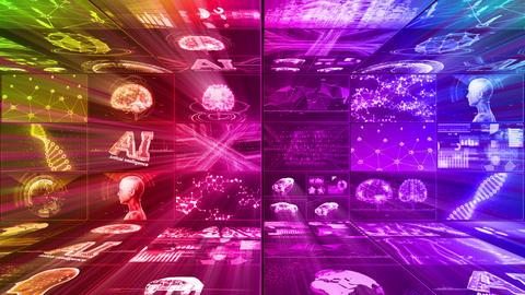 Digital Network Technology AI artificial intelligence data concepts Background D Yoko E1 3x3 rainbow Animation