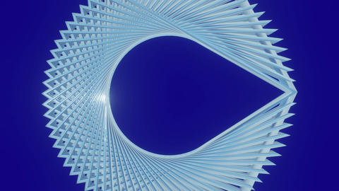 Abstract white metal logotype on a navy blue background. The scalloped 3D object Animation
