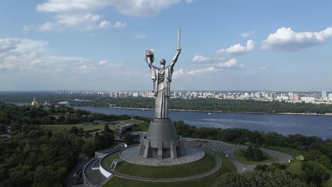 Kyiv, Ukraine: Aerial view of the Motherland Monument Live Action