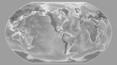 Dominican Republic - hub of the world. Grayscale Animation
