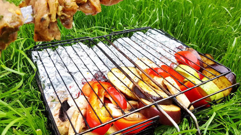 Skewers with raw pork meat are placed on a grill filled with sliced fresh GIF