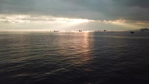 Aerial of Sunset Over Marmara Sea, Istabul Turkey. Distant Ships and Sun Rays Live Action