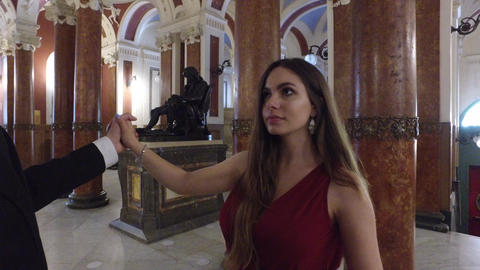 4K first person shot of beautiful girl dancing waltz in beautiful marble lobby Live Action