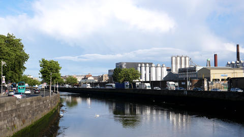 Industrial part of Dublin by the river Liffey Live Action