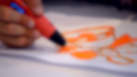 Blurred background. HD 1080 Drawing 3d pen figure outlined Live Action