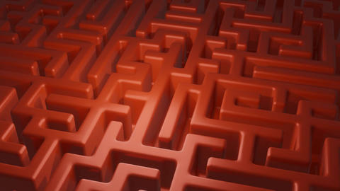 Camera moving over a red maze. The symbol to search for a solution to the Animation