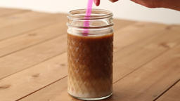 Caffe latte in a jar Footage