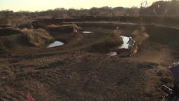 Motocross racer on dirt track Footage