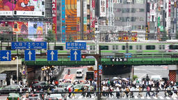 View of chaotic area in Shinjuku district on a rainy day, Tokyo, Japan Footage