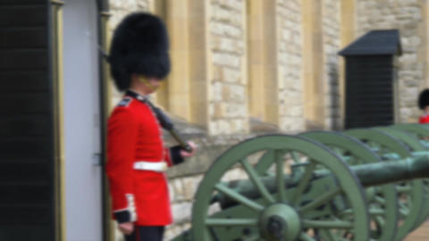Sentry on duty at Tower of London. Blurred footage ライブ動画