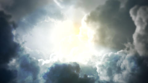 Cinematic background with cloudy and sun with motion camera Animation