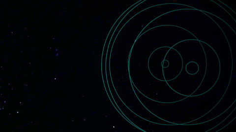 Motion abstract geometric shape with particles in space, dark background Animation