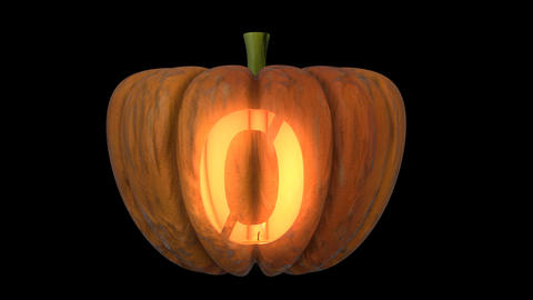 3d animated carved pumpkin halloween text typeface with candle light animation loop 0 Animation