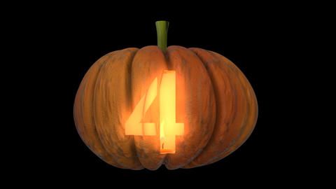 3d animated carved pumpkin halloween text typeface with candle light animation loop 4 Animation