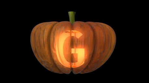 3d animated carved pumpkin halloween text typeface with candle light animation loop G Animation