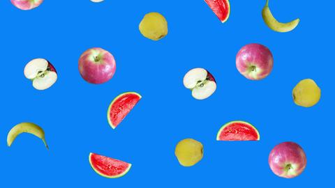 Realistic fruits animation on blue screen editable chroma key background Videos animados