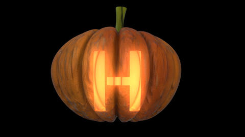 3d animated carved pumpkin halloween text typeface with candle light animation loop H Animation