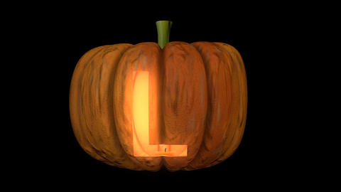 3d animated carved pumpkin halloween text typeface with candle light animation loop L Animation