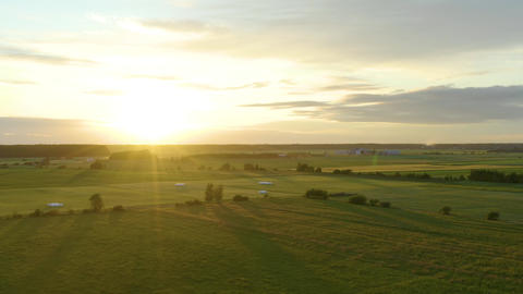 Sunset Over Hay Fields In Lithuania Live Action