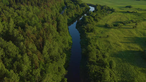 River Aerial In Lithuania Live Action