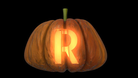 3d animated carved pumpkin halloween text typeface with candle light animation loop R Animation