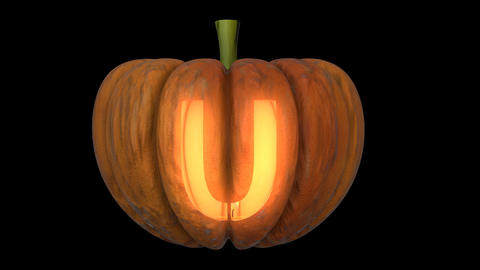 3d animated carved pumpkin halloween text typeface with candle light animation loop U Animation