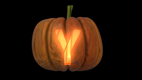 3d animated carved pumpkin halloween text typeface with candle light animation loop Y Animation