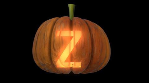 3d animated carved pumpkin halloween text typeface with candle light animation loop Z CG動画
