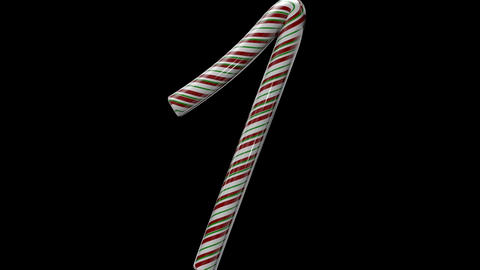 Glossy candy cane 3d animated text typography with separate alpha channel 1 Animation