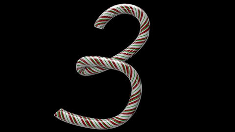Glossy candy cane 3d animated text typography with separate alpha channel 3 Animation