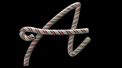 Glossy candy cane 3d animated text typography with separate alpha channel A Animation