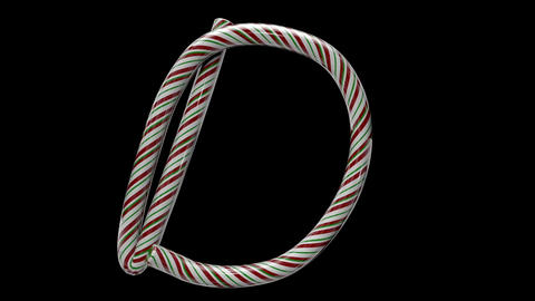 Glossy candy cane 3d animated text typography with separate alpha channel D Animation