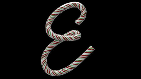 Glossy candy cane 3d animated text typography with separate alpha channel E Animation