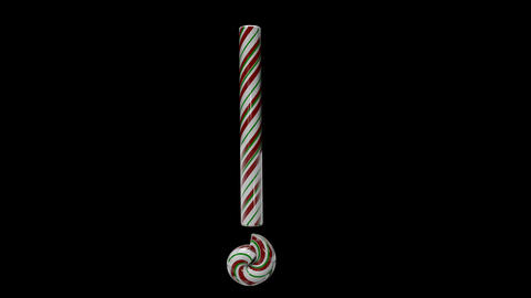 Glossy candy cane 3d animated text typography with separate alpha channel Exclamation Animation
