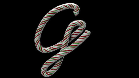 Glossy candy cane 3d animated text typography with separate alpha channel G Animation