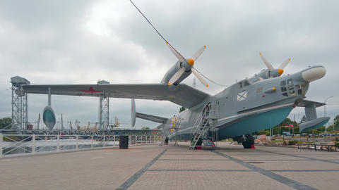 Amphibious aircraft in museum Kaliningrad, Russia Live Action