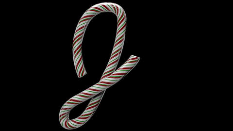 Glossy candy cane 3d animated text typography with separate alpha channel J Animation