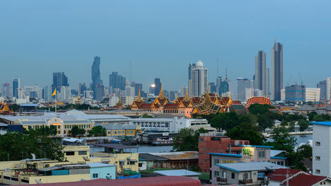 High view Time lapse The grand palace of Thailand with high building behind Live Action