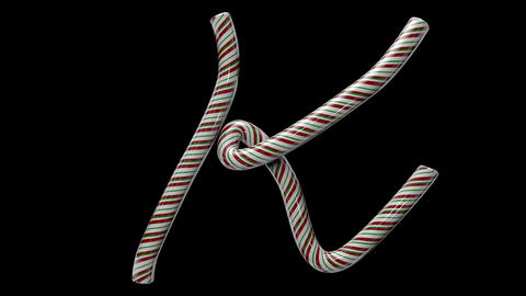 Glossy candy cane 3d animated text typography with separate alpha channel K Animation