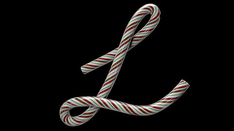 Glossy candy cane 3d animated text typography with separate alpha channel L Animation