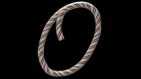 Glossy candy cane 3d animated text typography with separate alpha channel O Animation