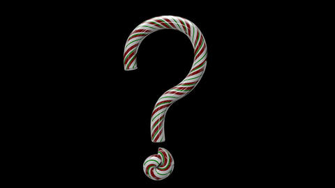 Glossy candy cane 3d animated text typography with separate alpha channel question mark Animation