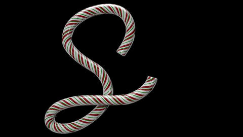 Glossy candy cane 3d animated text typography with separate alpha channel S Animation