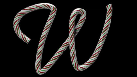 Glossy candy cane 3d animated text typography with separate alpha channel W Animation