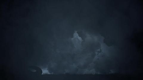 Medusa the Gorgo of the Greek mythology Under an Epic Lightning Storm Live Action